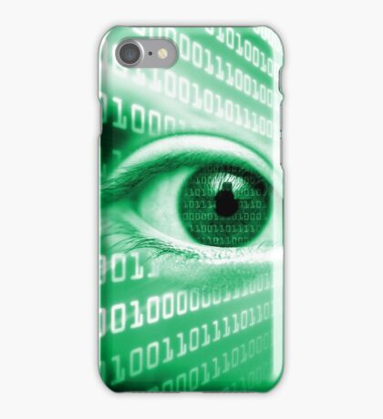 ON THE NET GREEN BINARY EYE GRAPHIC DESIGN iPhone Case/Skin