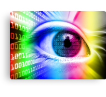 ON THE NET SPECTRUM COLORS BINARY EYE GRAPHIC DESIGN Canvas Print