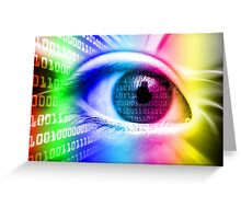 ON THE NET SPECTRUM COLORS BINARY EYE GRAPHIC DESIGN Greeting Card