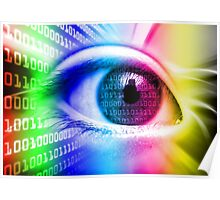 ON THE NET SPECTRUM COLORS BINARY EYE GRAPHIC DESIGN Poster