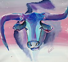 Longhorn Watch Out - Animal Art by Valentina Miletic by Valentina Miletic