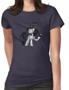 Pinkie Pie Detective Black & White Weathered Womens Fitted T-Shirt