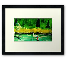 Waiting for your return on my perch, watercolor Framed Print