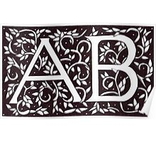 William Morris Inspired Monogram AB Poster