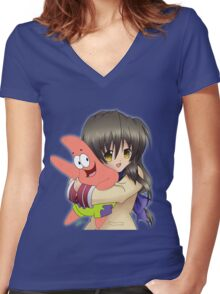 Can Fuko Has Starfish? Women's Fitted V-Neck T-Shirt