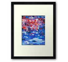 Lights in the rainy day oil painting Framed Print