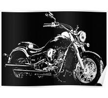 BLACK AND WHITE KAWASAKI VN900 MOTORCYCLE Poster