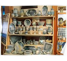 Light Blue Pottery Display Poster