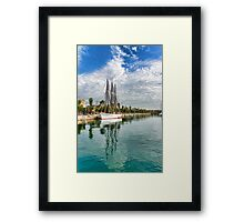 Tall Ships and Palm Trees - Impressions of Barcelona Framed Print