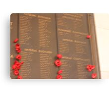 Australia War Memorial. Tribute Wall. Canvas Print