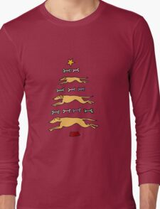 Fun Cool Greyhound Dog and Biscuits Christmas Tree Long Sleeve T-Shirt
