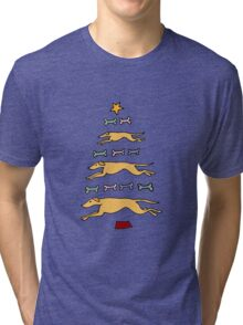 Fun Cool Greyhound Dog and Biscuits Christmas Tree Tri-blend T-Shirt