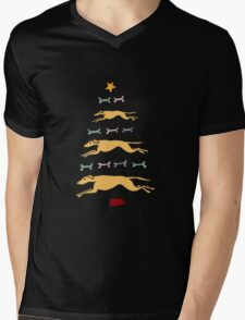 Fun Cool Greyhound Dog and Biscuits Christmas Tree Mens V-Neck T-Shirt