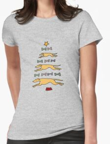Fun Cool Greyhound Dog and Biscuits Christmas Tree Womens Fitted T-Shirt