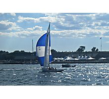 Deep Blue Sails On The Deep Blue, Narragansett Bay Photographic Print