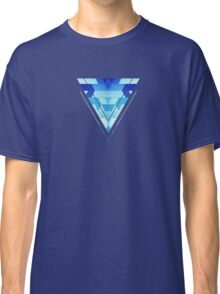 Abstract geometric triangle pattern (futuristic future symmetry) in ice blue Classic T-Shirt