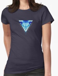 Abstract geometric triangle pattern (futuristic future symmetry) in ice blue T-Shirt