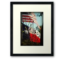Flags of The USA and Texas Behind Spring Leaves Framed Print