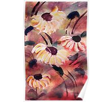 Wild flowers #2, almost tamed, watercolor Poster