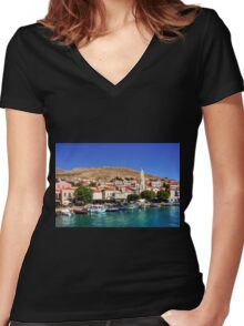 Fishing Boats at the Harbour Women's Fitted V-Neck T-Shirt