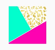 Neon Teal & Pink Color Block & Faux Gold Splatter Classic T-Shirt