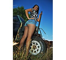 Beth in the junk yard Photographic Print