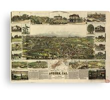Panoramic Maps Auburn California Canvas Print
