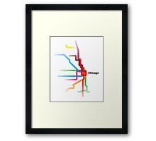 Chicago CTA Rainbow Map Framed Print