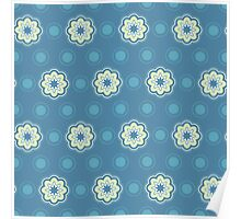 Pattern in circles, dot and flowers Poster