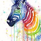 Rainbow Zebra Watercolor Animal Painting by Olga Shvartsur