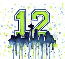 Seattle 12th Man Art for Seahwks by Olga Shvartsur