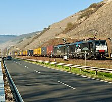 Freight train near Boppard in the Rhine Valley, Germany. by David A. L. Davies