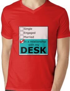 In A Relationship With My Desk Mens V-Neck T-Shirt