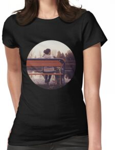 Retro Photo - Girl with a dog Womens Fitted T-Shirt