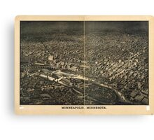 Panoramic Maps Minneapolis Minnesota Canvas Print