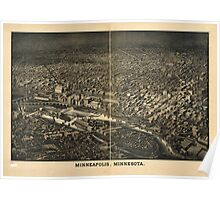 Panoramic Maps Minneapolis Minnesota Poster
