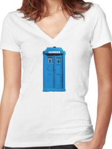 Traditional UK Police Box Women's Fitted V-Neck T-Shirt