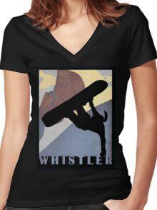 Betty, Whistler Mountain Snowboarding Girl winter sport shirt Women's Fitted V-Neck T-Shirt