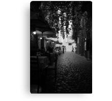Cafe Walk Mono Canvas Print