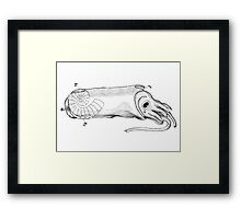 Crying calamari illustration vintage Framed Print