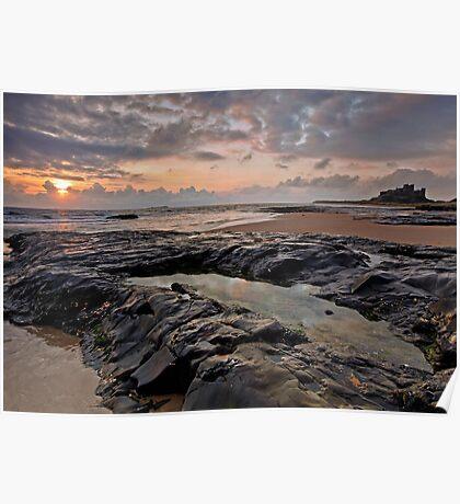 Sunrise over Bamburgh Castle, Northumberland Poster