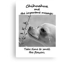 Chihuahua and the Important Message--Take Time to Smell the Flower T-Shirt Canvas Print