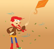 little girl with kite by ainsel