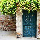 Blue Door, Yellow Flowers by Jewel Pfaffroth