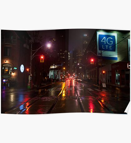 Adelaide Street Facing East In The Evening Rain Poster