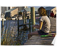 Making a reed boat on dock in Orange Beach Alabama  Poster