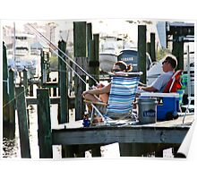 Fishing off the dock Poster
