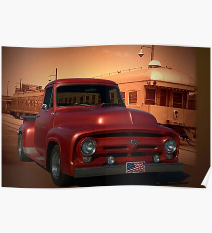 1955 Ford F100 Pickup Truck with 56' Grill. Poster