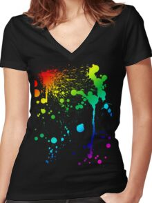 Pride Paint Women's Fitted V-Neck T-Shirt
