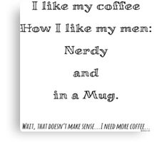Nerd Coffee Canvas Print